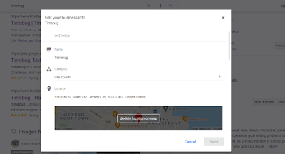 Edit Timebug Google My Business Info