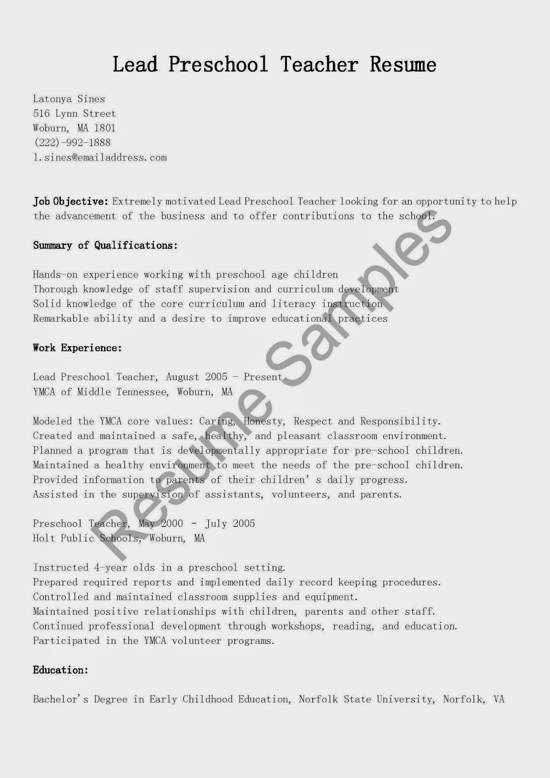 Lead Teacher Job Description Resume Resume Samples Lead Preschool Teacher Resume Sample