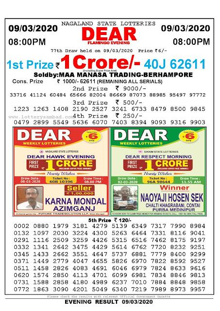 Lottery Sambad 09.03.2020 Nagaland Lottery Result 8 PM