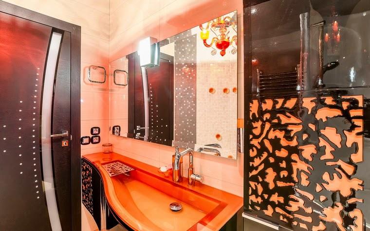 Modern Bathroom Designs With Black Orange Accessories
