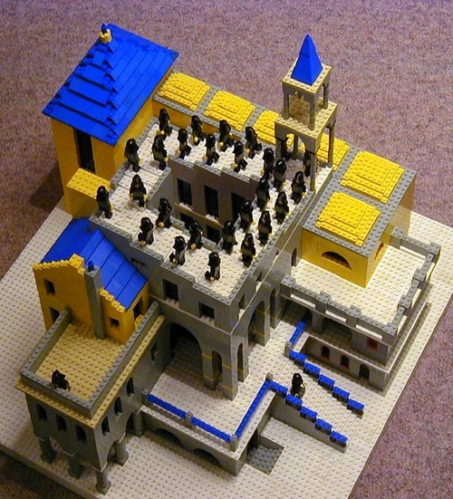 05-Ascending-and-Descending-Andrew-Lipson-M-C-Escher-v-Lego-in-Drawing-v-Sculpture-www-designstack-co