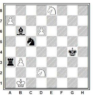 Estudio artístico de ajedrez compuesto por O. Mazur y G. Umno (1º Premio, Chess and Draughts, 1981)