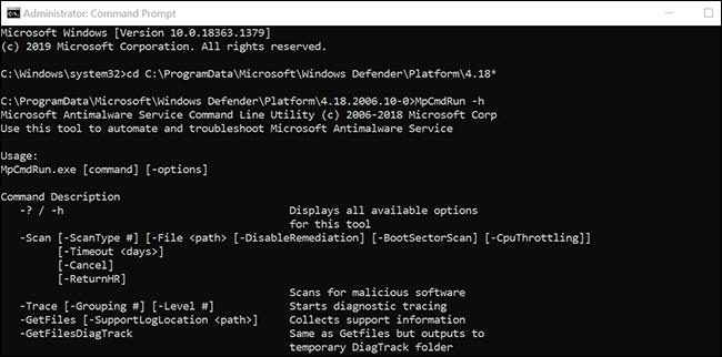 اعرض جميع أوامر Microsoft Defender Antivirus