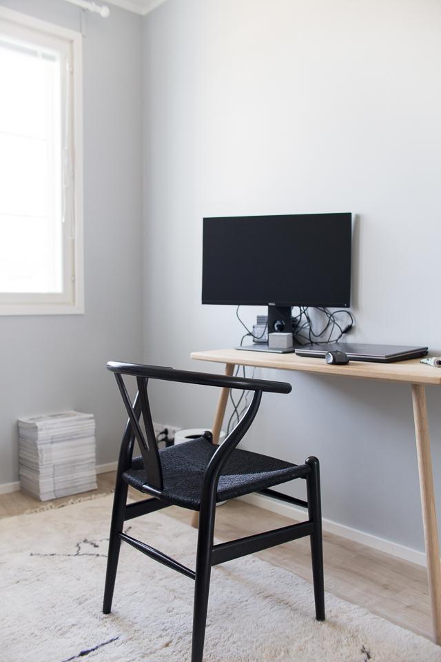 y-tuoli, wishbone, skagerak työpöytä, työhuoneen sisustus