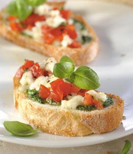 recette Bruschetta à la Mozzarella et au Pesto
