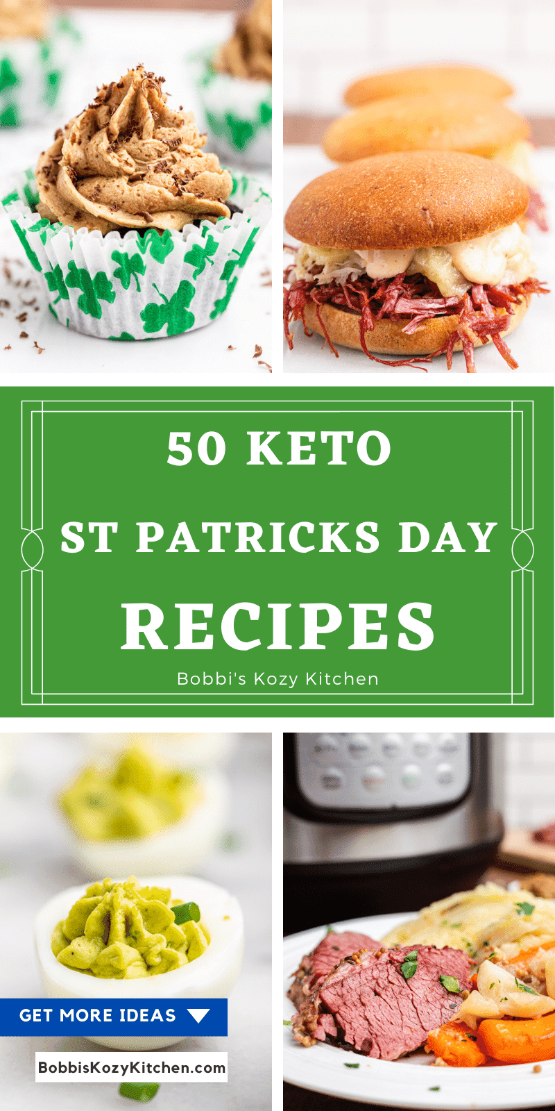 Pinterest photo collage for 50 Keto and Low Carb St Patricks Day Recipes
