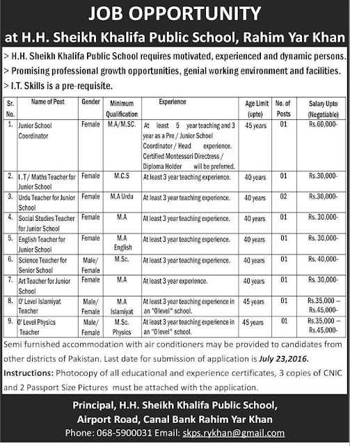 Teachers Jobs in H.H Sheikh Khalifa Public School for All Subjects