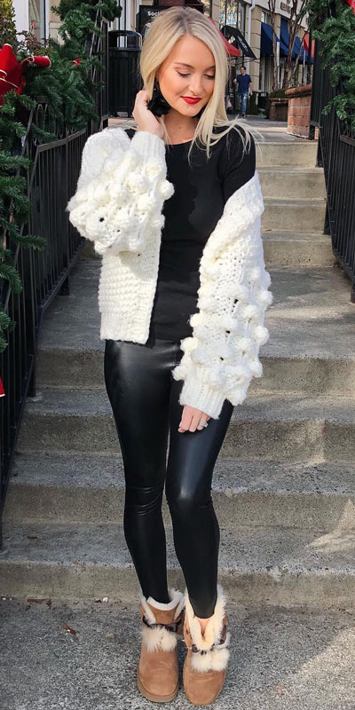 Winter is a great time to step up your personal style. See these 24 Trendy Winter Fashion Ideas for Not So Cold Days. Winter Outfit Ideas for Women via higiggle.com | white knit | #winter #fashion #knit #CARDIGAN