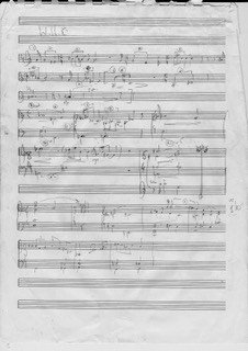 Adrian Sutton - scrap of manuscript sketch for the original score of War Horse 2007
