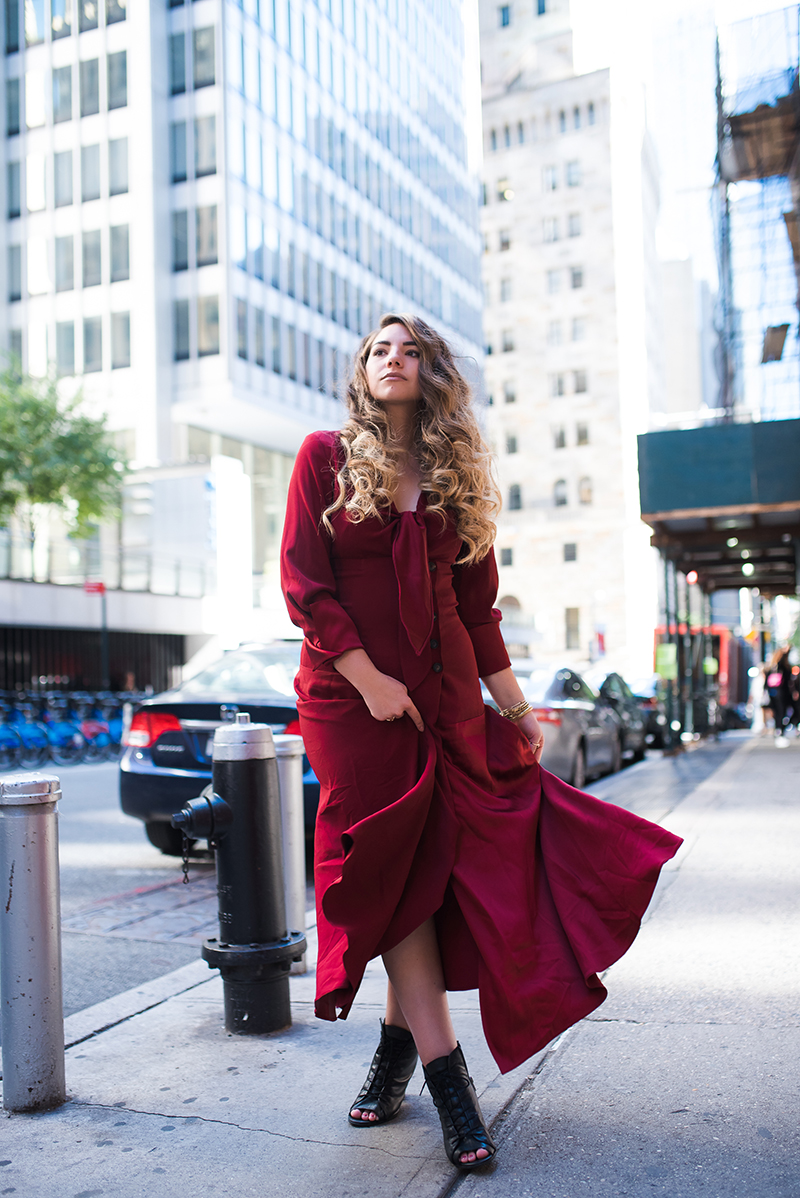 red dress, new york fashion week, fashion blogger