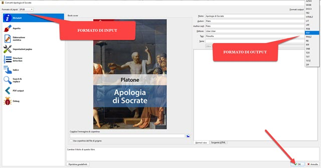 conversione di ebook in PDF con calibre