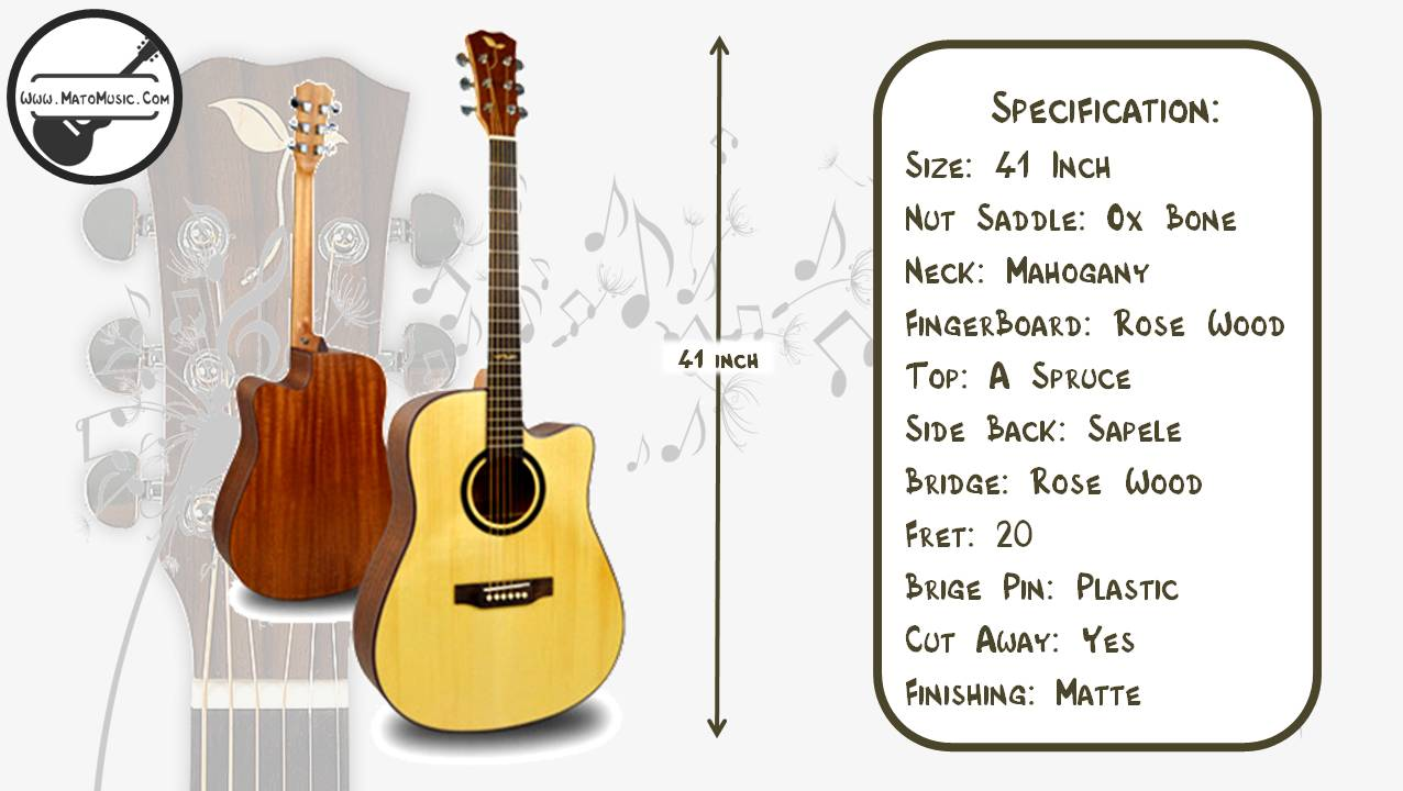 Yadars L530 Dreadnought Size Acoustic Guitar With Solid Spruce Top Specification