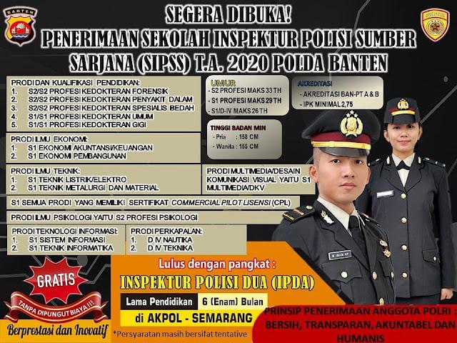 Daftar Jurusan Lulusan Sarjana yang diterima Rekrutmen SIPSS Polri 2020