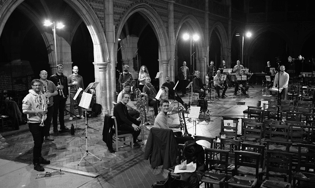Onyx Brass and guests including members of Septura, conductor John Wilson, during the recording of the Richard Strauss' Festmusik (Photo Andrew Sutton)