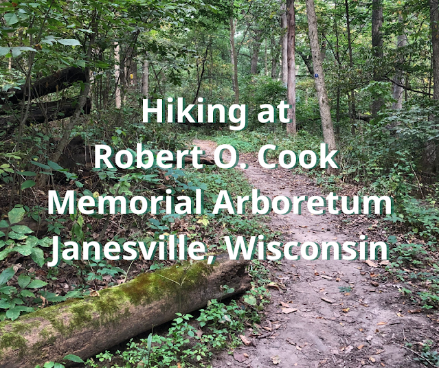 Hiking along  the Ice Age National Scenic Trail in the Robert O Cook Memorial Arboretum in Janesville, Wisconsin