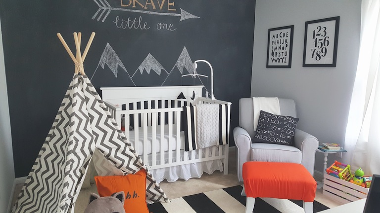Fawn Over Baby: Modern Black & White Woodland Themed Nursery