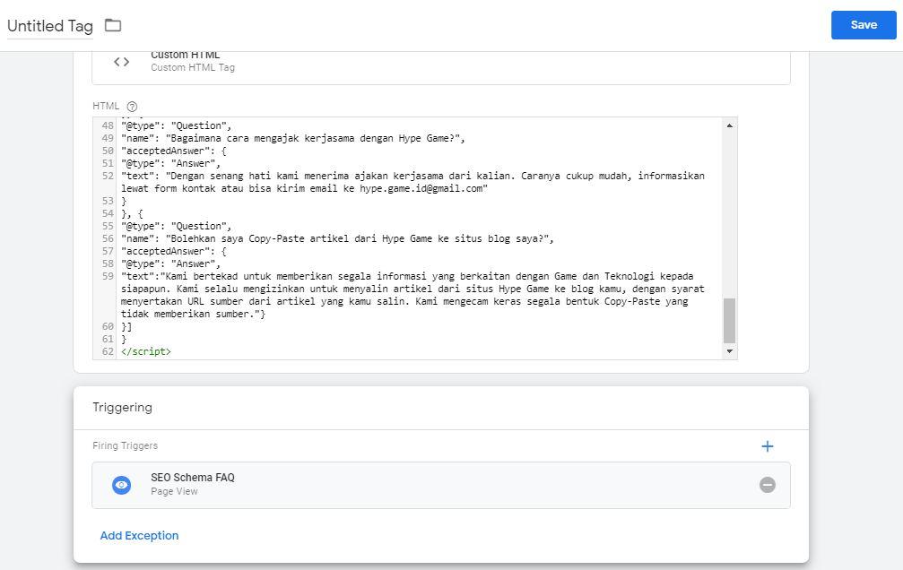 Cara Memasang Schema Markup FAQ Dengan Google Tag Manager 16