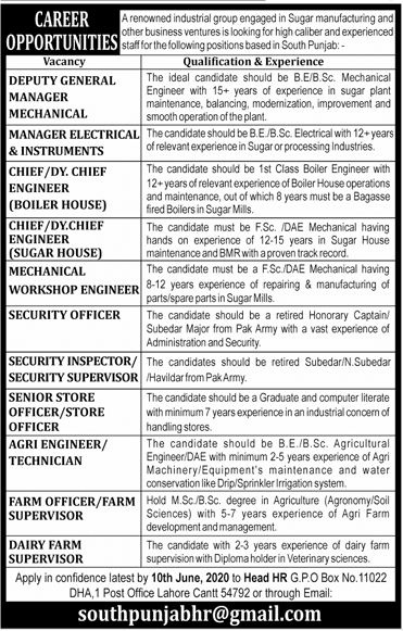 PO Box No 11022 GPO Lahore Cantt Jobs