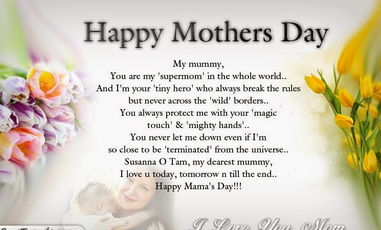 Happy mothers day poems from your daughter to mom