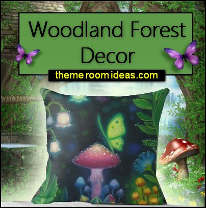 woodland forest decor Night Lights  Mushroom Butterfly Scene Throw Pillow WOODLAND BEDDING