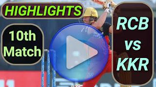RCB vs KKR 10th Match 2021
