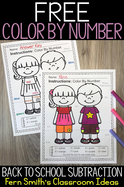 Click here for my Back to School Color By Number Worksheet and Answer Key Freebie