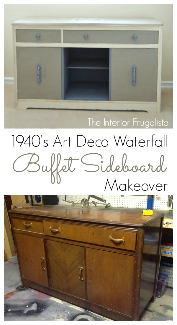 1940's Art Deco Waterfall Buffet Sideboard Before and After