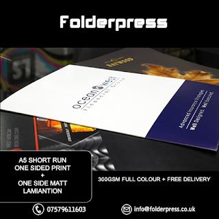 A5 Short Run Folders printing + 1 side Matt Lamination