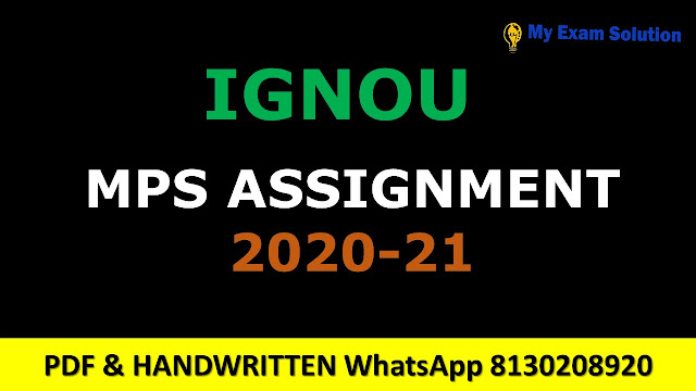 Ignou MPS Assignments 2020-21
