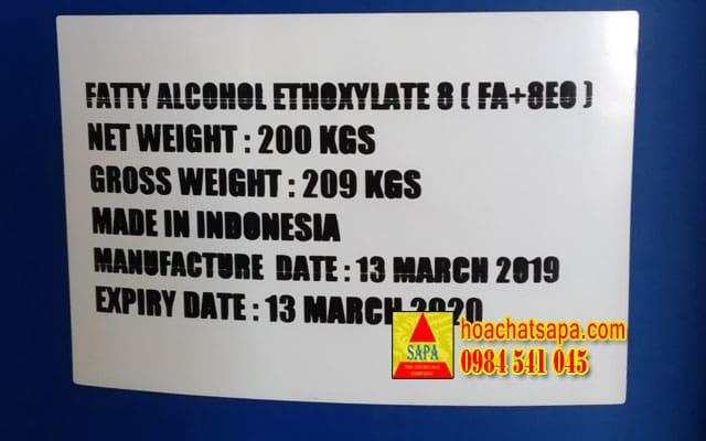 Fatty Alcohol Ethoxylate 8 (FA8+OE) - chất hoạt động bề mặt
