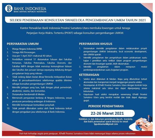 Tenaga Perjanjian Kerja Waktu Tertentu (PKWT) Bank Indonesia Maret 2021