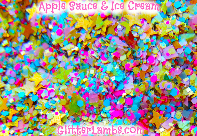 "Glitter Lambs ""Apple Sauce & Ice Cream"" loose glitter mix has an assorted mix of holographic stars, micro pink and blue hex, yellow hex, lime green shreds, light pink shreds, and gold holographic square glitters."