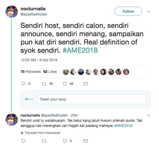 """""""Sendiri host, sendiri calon, sendiri announce, sendiri menang, sampaikan pun kat diri sendiri. Real definition of SYOK SENDIRI."""""""