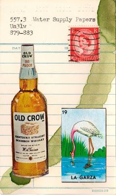 Kentucky Straight bourbon whiskey bottle old crow queen Elizabeth postage stamp loteria mexican lottery card la garza Heron library card Dada Fluxus mail art collage