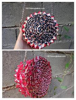 Tas bulat dari kerajinan plastik bekas bungkus kopi dan cara membuatnya