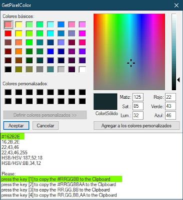Averígua el código de color de cualquier zona de tu pantalla