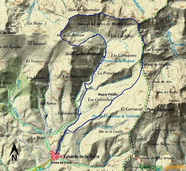 Mapa IGN con la ruta señalizada a el Alto de los Bildares, Aguasalio, Gustalapiedra, Martín Vaquero y de Arra desde el pueblo leonés de Valverde de la Sierra.