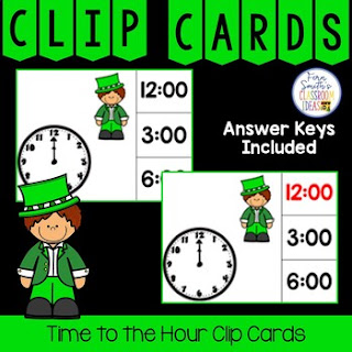Time to the Hour Clip Cards Leprechaun Themed