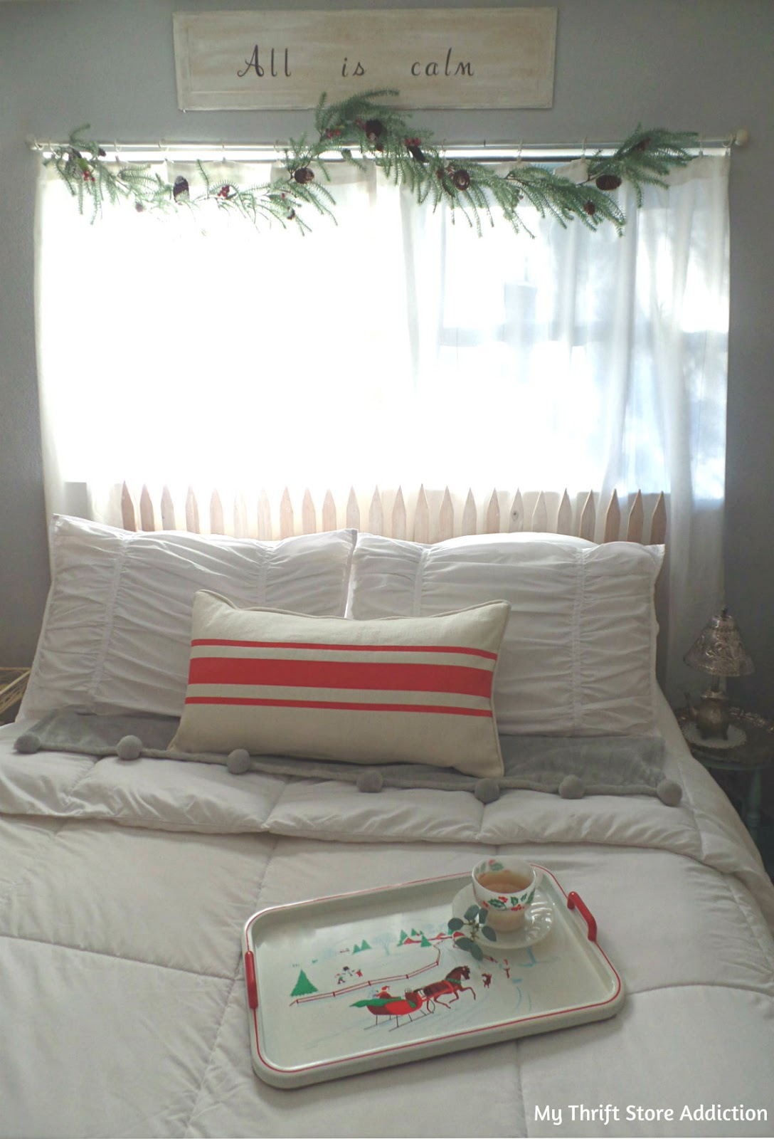 calm and cozy Christmas bedroom
