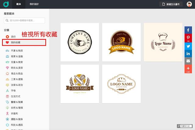 【行銷手札】創業者的好夥伴,品牌 Logo 設計服務 DesignEvo - 最後可以再利用我的收藏瀏覽喜歡的 Logo 商標樣式