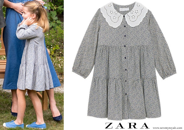 Princess Charlotte wore Zara Floral Dress with Peter Pan Collar