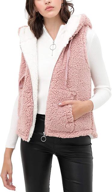 Cute Pink Faux Fur Vests For Women