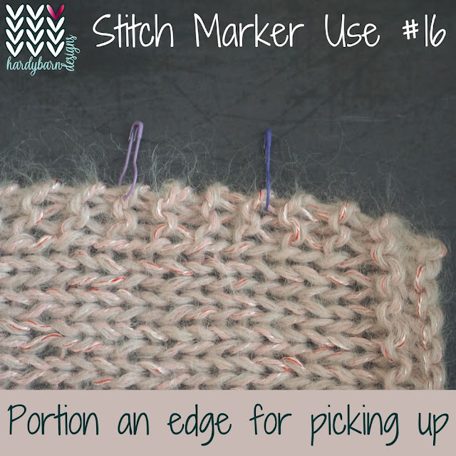 Pink knitting with stitch markers attached evenly down one side