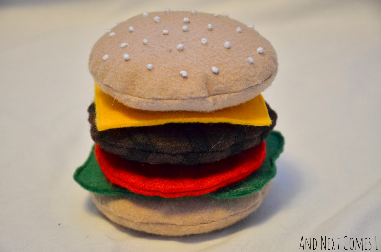 Felt hamburger play food for kids from And Next Comes L