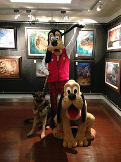 Three famous dogs, Pluto, Goofy and Tank