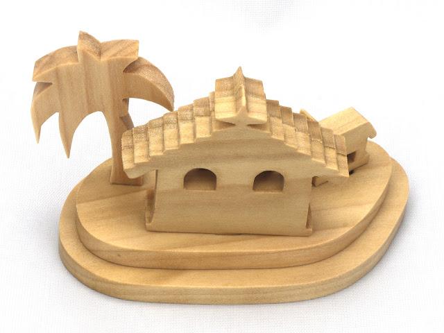 Handmade Wood Christmas Miniature Nativity Scene