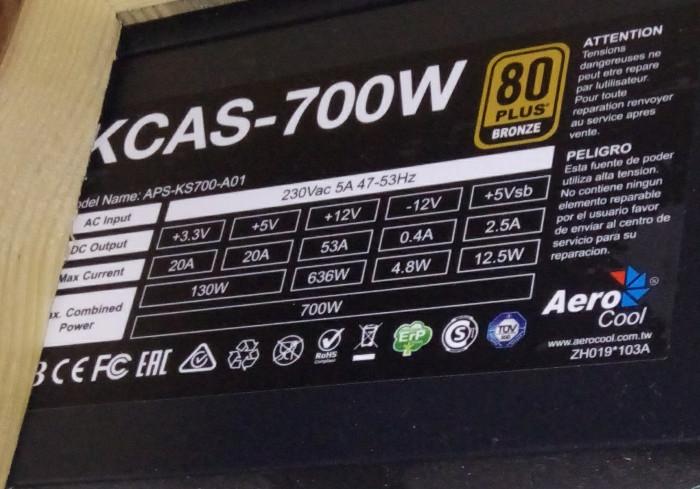 Характеристики блока питания AeroCool Kcas 700W