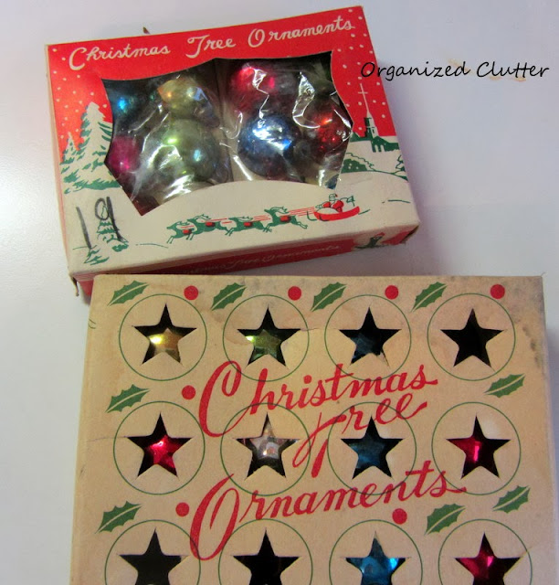 Vintage Miniature Christmas Tree Ornaments www.organizedclutterqueen.blogspot.com