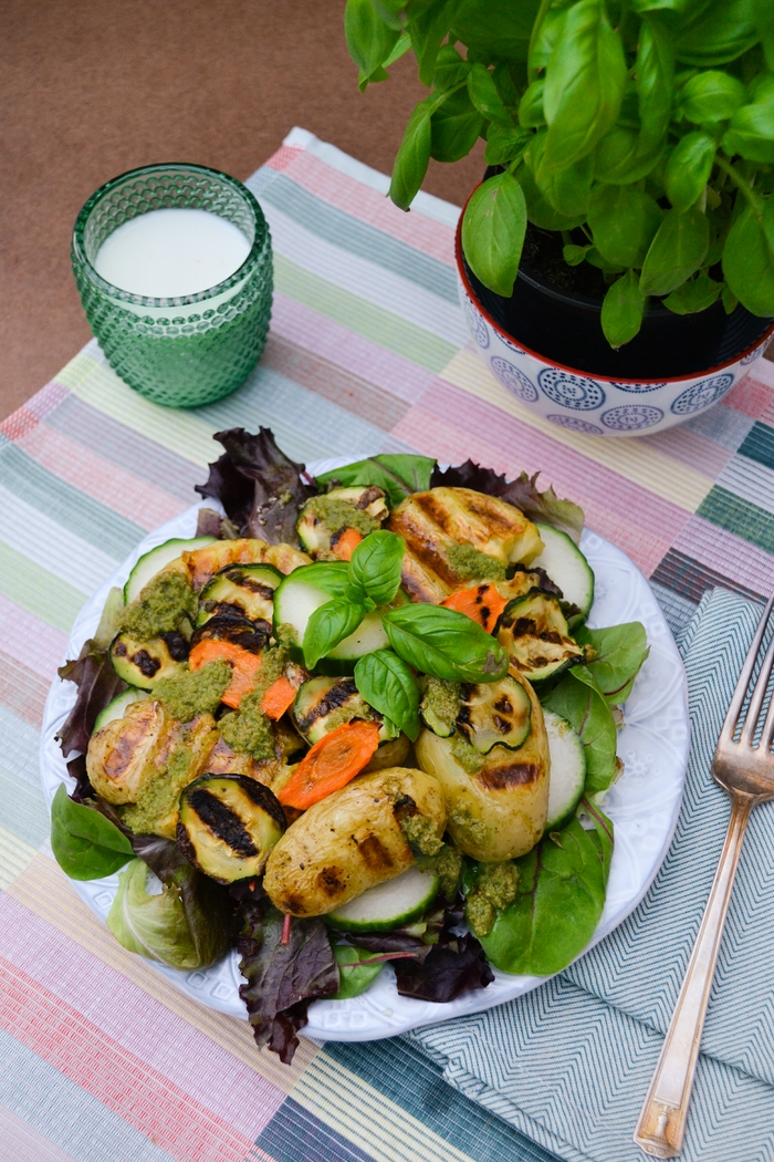 Smashed Potato Salad with Dairy-Free Pesto Dressing