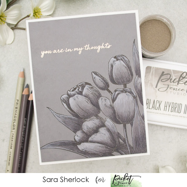 Monochromatic, tulips, Picket Fence Studios, March Release, Prismacolor Pencils, colored pencils, coloring, flowers, flower card, floral card, gray tones